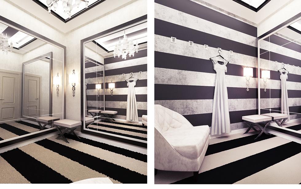Малая примерочная комната в свадебном бутике